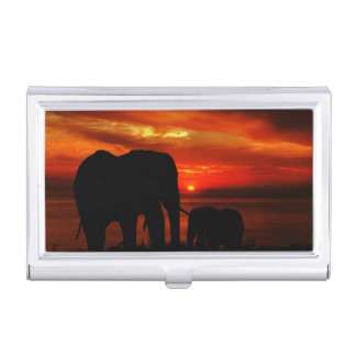 Elephants at Sunset Business Card Holder