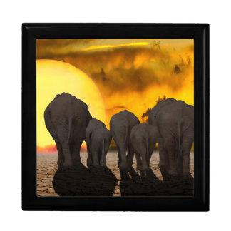 Elephants at Sunset Gift Box