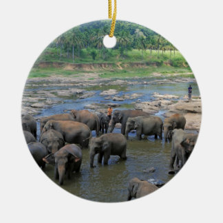 Elephants bathing in river Sri Lanka Ceramic Ornament