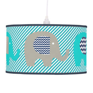 Elephants Blue/White Diagonal Stripe Pendant Lamp