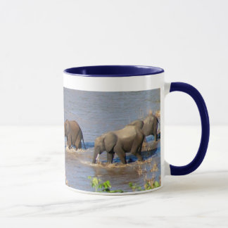 Elephants crossing Tarangire River Mug