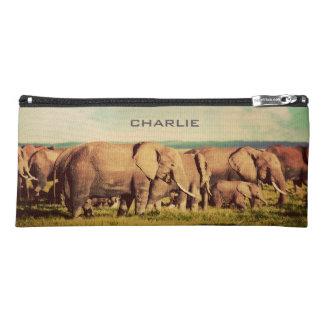 Elephants custom name pencil case