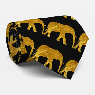 Elephants in Gold Tie