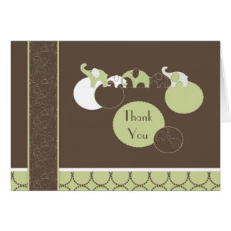 Elephants in Green Thank You Card