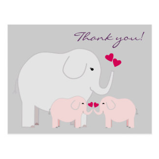 Elephants in Pink Thank You Postcard