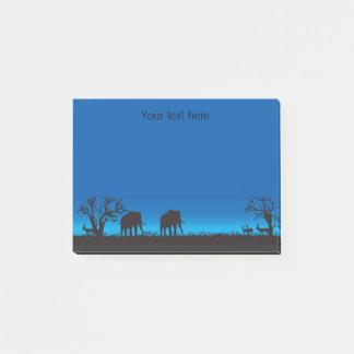 Elephants in Silhouette Blue Sky Post it Notes