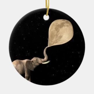 Elephants Make Full Moon Round Ceramic Ornament