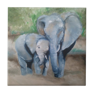 Elephants- Mother and Baby Ceramic Tile