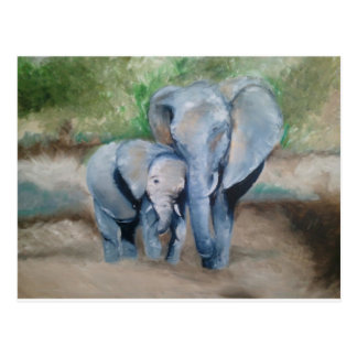 Elephants- Mother and Baby Postcard