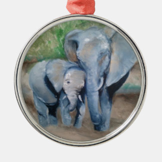Elephants- Mother and Baby Silver-Colored Round Ornament