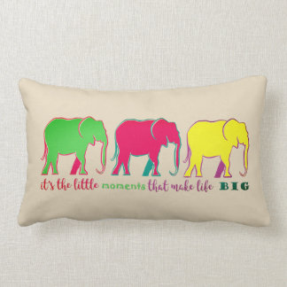Elephants Neon Silhouettes Colorful Inspiration Lumbar Pillow