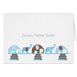 Elephants on Books Baby Thank You Note with photo Note Card