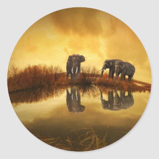 Elephants Reflection At Sunset Glossy Stickers