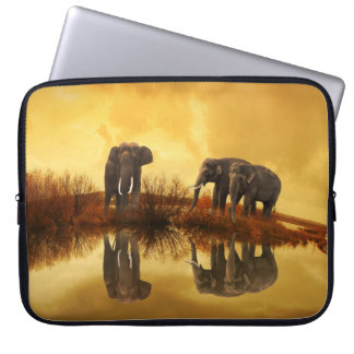 Elephants Reflection At Sunset Laptop Sleeve