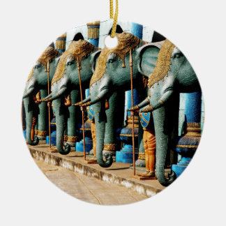 Elephants Round Ceramic Ornament