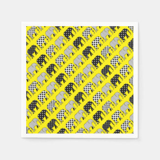 Elephants Silhouette Cool Pattern Black White Chic Disposable Napkins