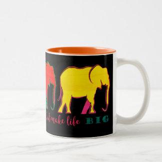Elephants Silhouette Neon Inspiration Motivation Two-Tone Coffee Mug