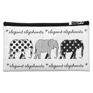 Elephants Silhouette Pattern Modern Black White Makeup Bag