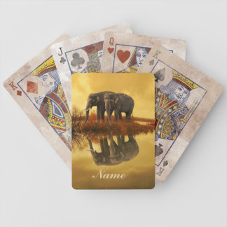 Elephants Sunset Bicycle Playing Cards
