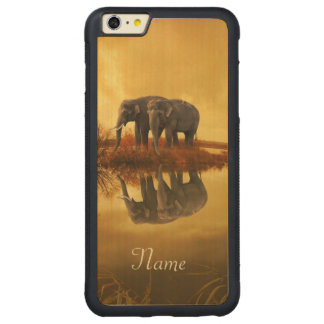 Elephants Sunset Carved Maple iPhone 6 Plus Bumper Case