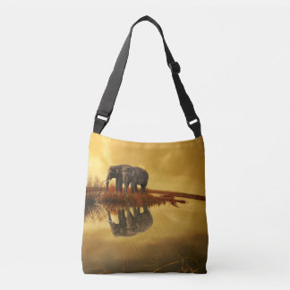 Elephants Sunset Crossbody Bag