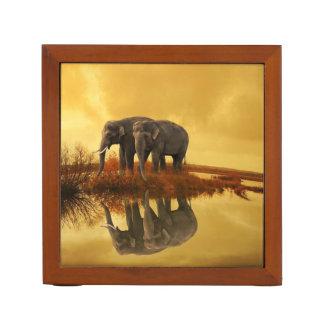 Elephants Sunset Desk Organizer