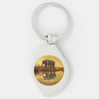 Elephants Sunset Keychain