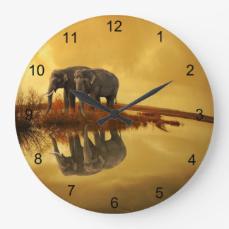 Elephants Sunset Large Clock
