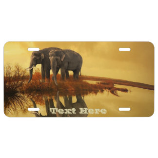 Elephants Sunset License Plate
