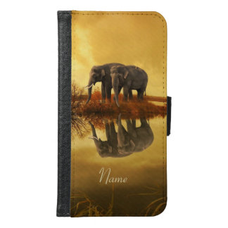 Elephants Sunset Samsung Galaxy S6 Wallet Case
