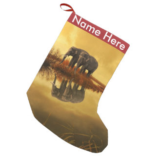 Elephants Sunset Small Christmas Stocking