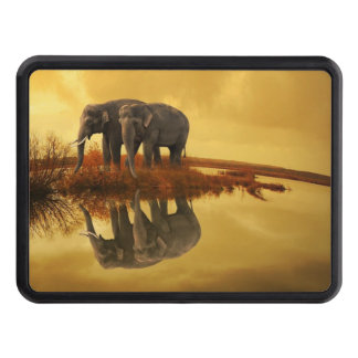 Elephants Sunset Trailer Hitch Cover