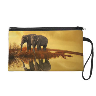 Elephants Sunset Wristlet