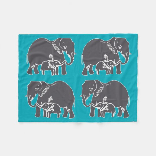 Elephants Teal Fleece Blanket
