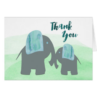 Elephants Thank You Card, Mommy and Baby elephant Note Card