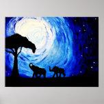 Elephants Under Moonlight (K.Turnbull Art) Poster