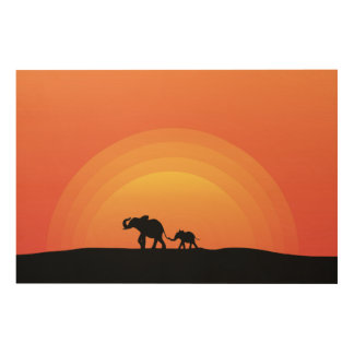 Elephants Wood Wall Decor
