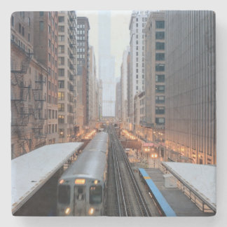 Elevated rail in downtown Chicago over Wabash Stone Beverage Coaster