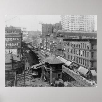 Elevated railroad Wabash Avenue Chicago Illinois Poster