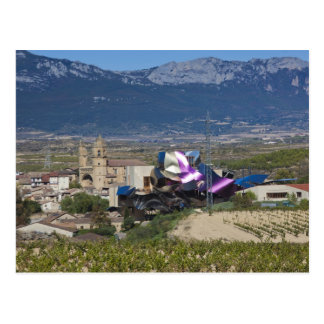 Elevated town view and Hotel Marques de Riscal 2 Postcard