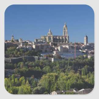 Elevated town view with the Segovia Cathedral Square Sticker