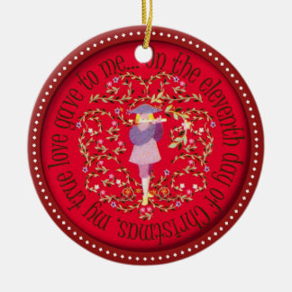 Eleven pipers piping ceramic ornament