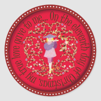 Eleven pipers piping classic round sticker