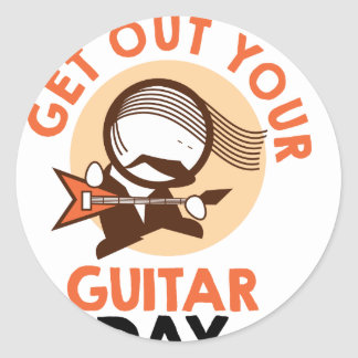 Eleventh February - Get Out Your Guitar Day Classic Round Sticker