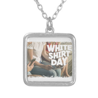 Eleventh February - White Shirt Day Silver Plated Necklace