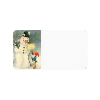 Elf and Snowman Retro Address Label