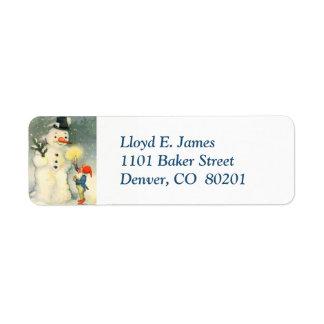 Elf and Snowman Retro Return Address Label