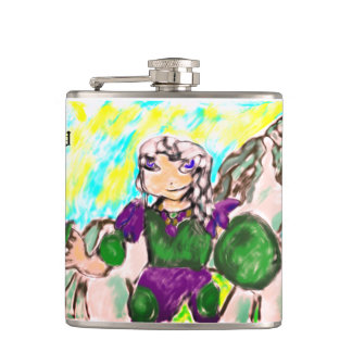 Elf and unicorn hip flask