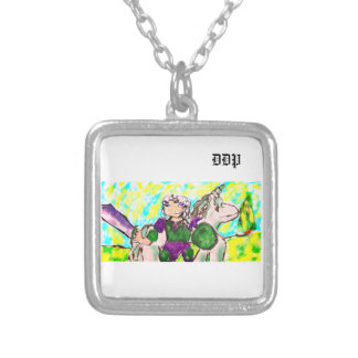 Elf and unicorn silver plated necklace