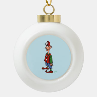 Elf At Attention Christmas ball Ceramic Ball Christmas Ornament